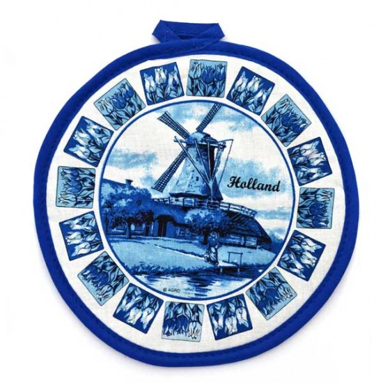 POTHOLDER DELFT BLUE WINDMILL CIRCLE