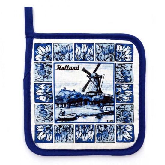 Pannenlap delftsblauwe tegels molen
