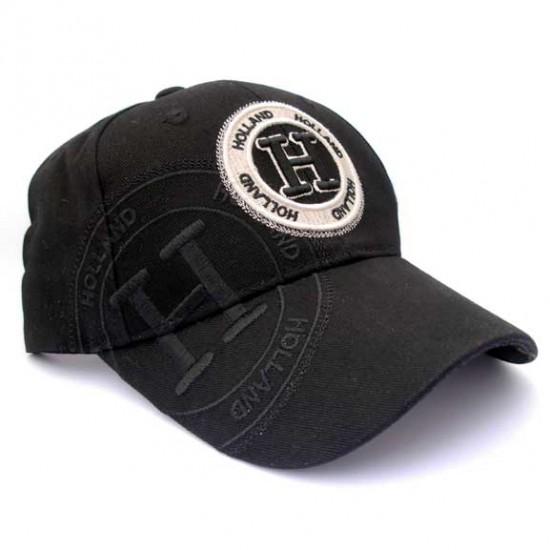 HOLLAND BASEBALL CAP BLACK EMBROIDERY COTTON