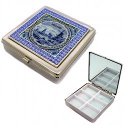PILL BOX DELFT BLUE TILE GLITTER BORDER 6 x 6 CM