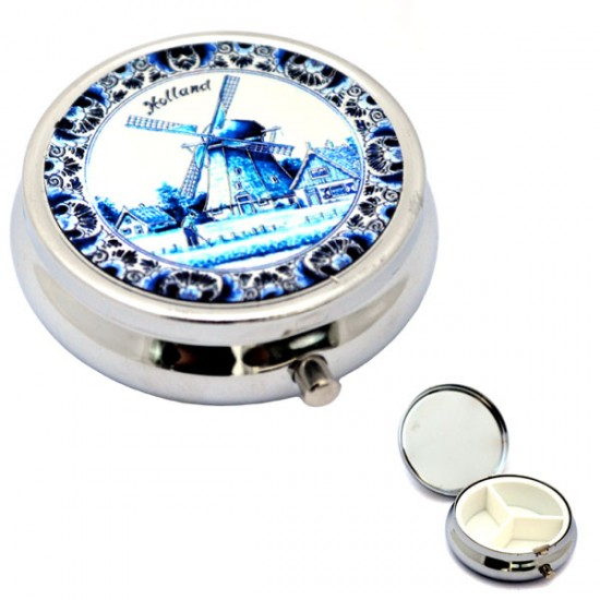 PILL BOX DELFT BLUE COPPERPLATE WINDMILL HOLLAND