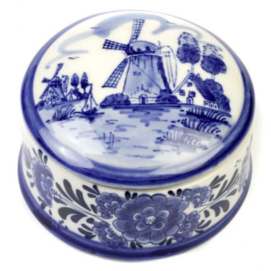 PILLS BOX / JEWELRY BOX ROUND DELFT BLUE 9 CM