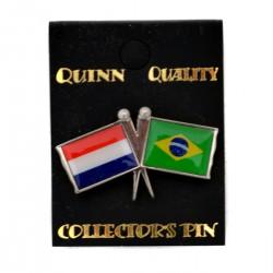 PIN DOUBLE FLAG NETHERLANDS BRAZIL