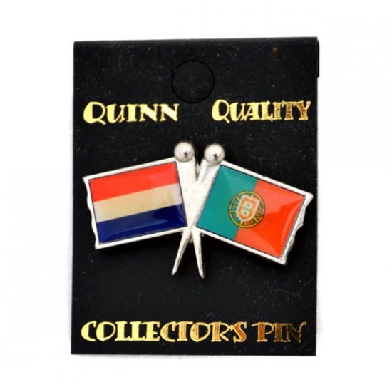 Pin duo vlag nederland portugal