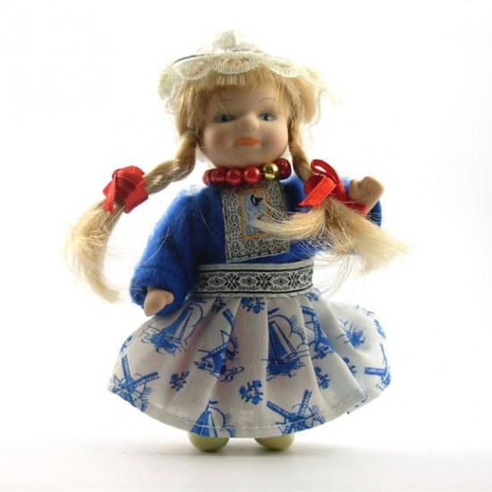 HANDMADE PORCELAIN COSTUME DOLL GIRL BLUE 12 CM