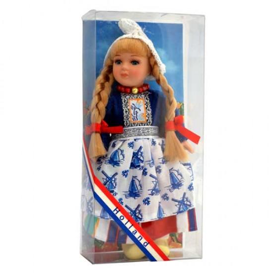 Porseleinen klederdracht popje meisje blauw handgemaakt 17 cm