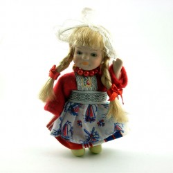HANDMADE PORCELAIN COSTUME DOLL GIRL RED 12 CM