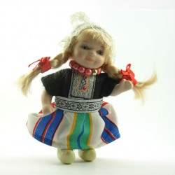 HANDMADE PORCELAIN CUSTUME DOLL GIRL STRIPE 12 CM