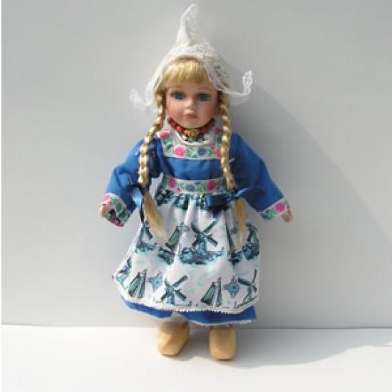 HANDMADE PORCELAIN COSTUME DOLL GIRL DELFT BLUE