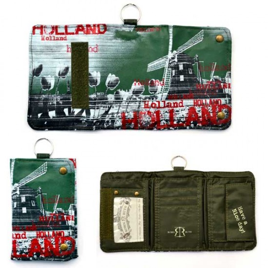 Portemonnaie holland mühle grün rot 8 x 12 cm