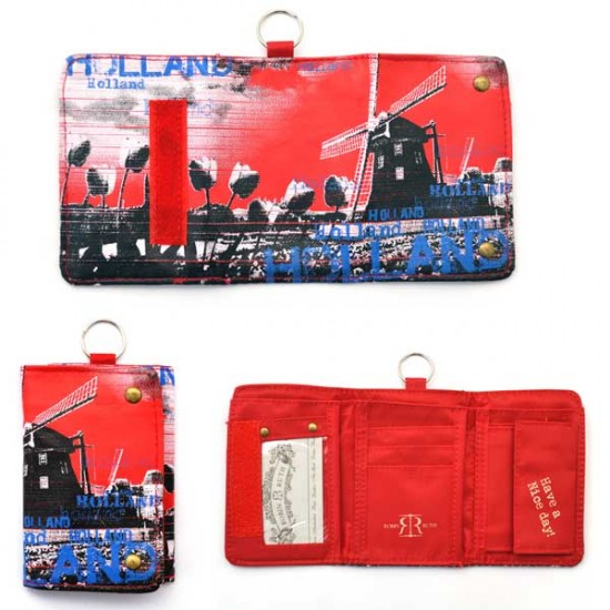 Wallet holland windmill red blue 8 x 12 cm