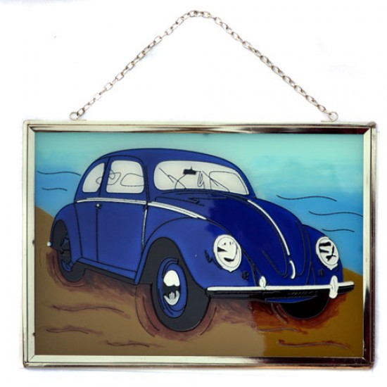 Window decoration volkswagen beetle blue