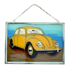 WINDOW DECORATION VOLKSWAGEN BEETLE YELLOW