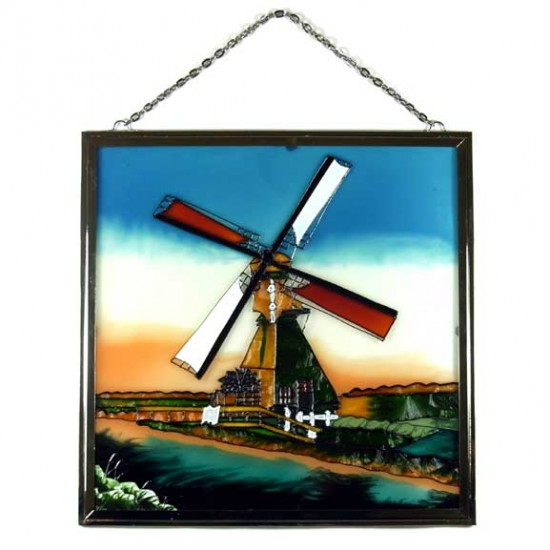 WINDOW GLASS PENDANT WINDMILL and WATER WHEEL