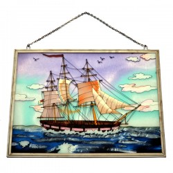 WINDOW DECORATION SAILING VESSEL BLUE LARGE