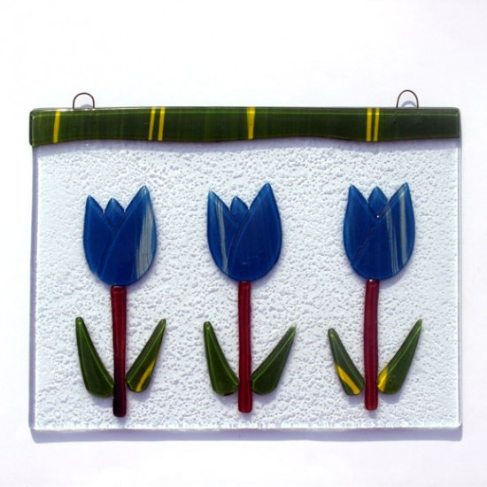 Window glass pendant 3 tulips blue 15 x 20 cm