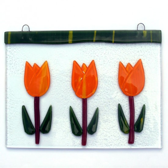 WINDOW GLASS PENDANT 3 TULIPS ORANGE  15 x 20 CM