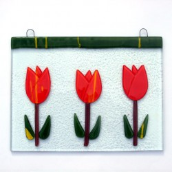 WINDOW GLASS PENDANT 3 TULIPS ORANGE