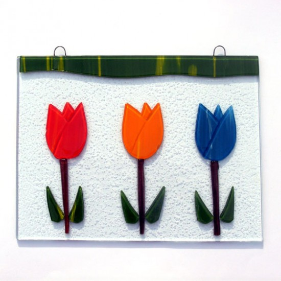 WINDOW GLASS PENDANT RED ORANGE  BLUE TULIPS