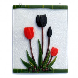 WINDOW GLASS PENDANT RED BLACK TULIPS