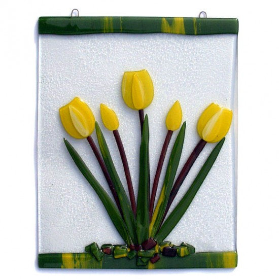 Window glass pendant yellow tulips