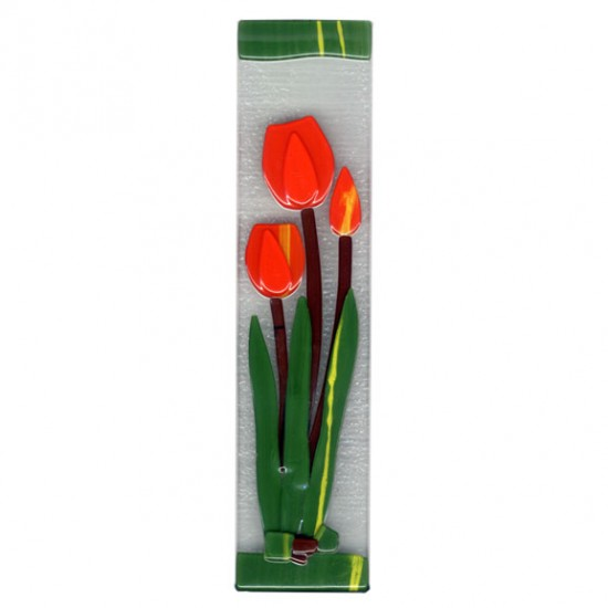 SUNCATCHER GLASS TULIPS ORANGE 7 x 30 CM