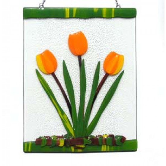 GLASS SUNCATCHER TULIP ORANGE / YELLOW