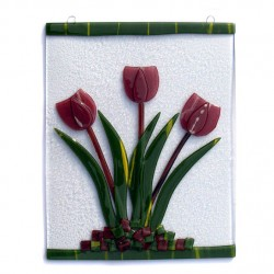 WINDOW GLASS PENDANT BORDEAUX TULIPS