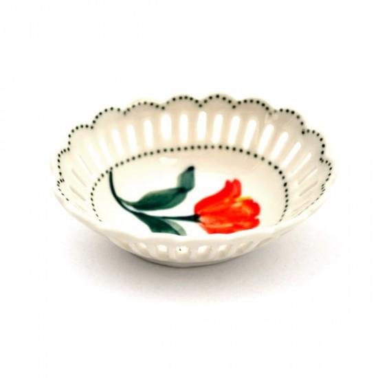 Dish oval tulip orange green 7 cm
