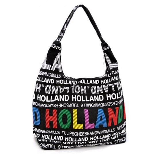 SHOULDER BAG JULIA L CANVAS HOLLAND BLACK WHITE MULTI ROBIN RUTH