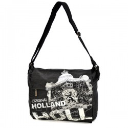 HOLLAND CANVAS MESSENGER BAG BLACK BIG ROBIN RUTH