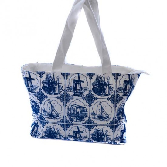 SHOULDER BAG DELFT BLUE TILES COTTON MEDIUM