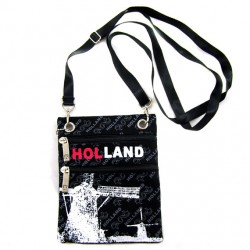 SHOULDER PURSE BLACK CANVAS HOLLAND