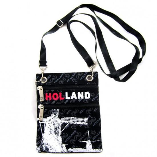 SHOULDER PURSE BLACK CANVAS HOLLAND