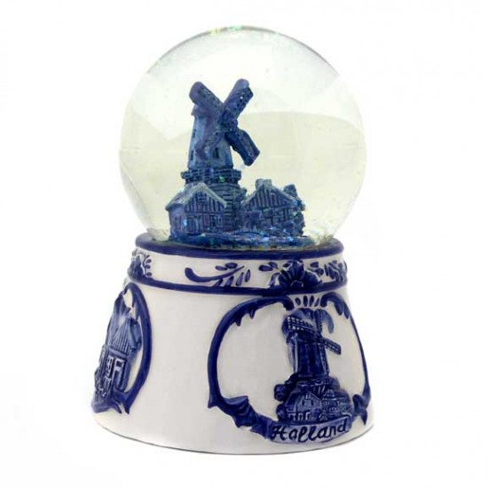 WATER GLOBE HOLLAND DELFT BLUE RELIEF