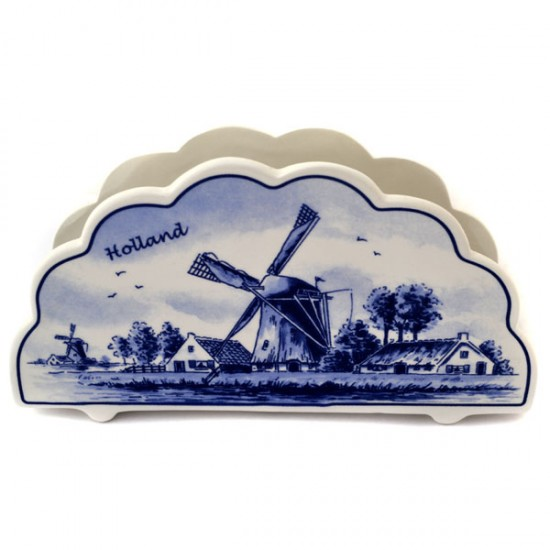 NAPKIN HOLDER / LETTER HOLDER DELFT BLUE WINDMILL FLOWERS