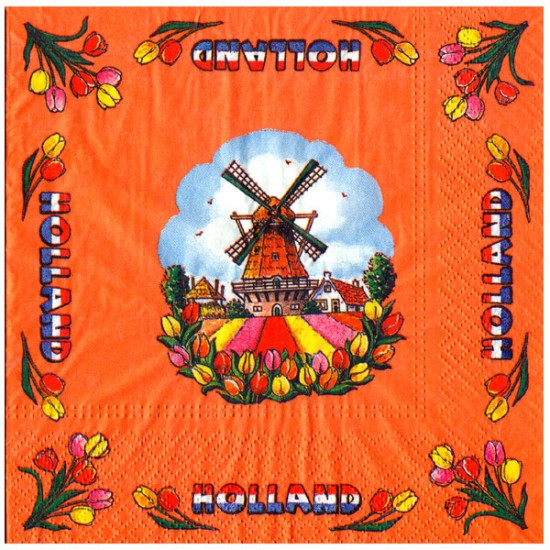 NAPKINS HOLLAND WINDMILL TULIPS ORANGE