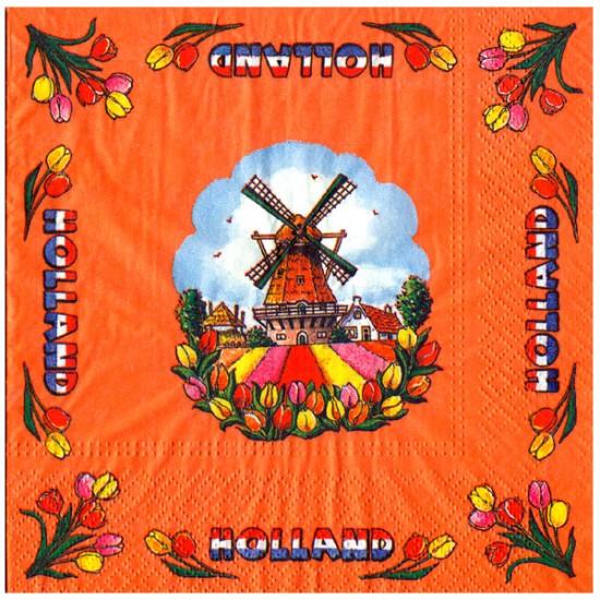 Napkins holland windmill tulips orange