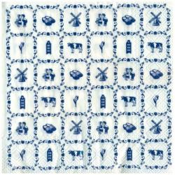 NAPKINS SMALL DELFT BLUE TILE PRINT SYMBOLS