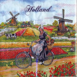 NAPKINS PLUIMERS BIKE TULIPS FIELD