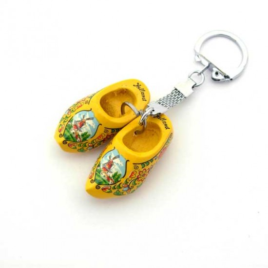 Keychain 2 wooden cloggies yellow 4 cm