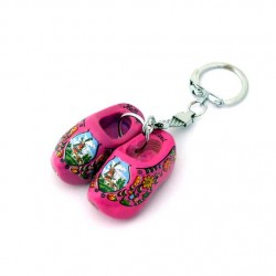 KEYCHAIN 2 WOODEN CLOGGIES PURPLE 4 CM
