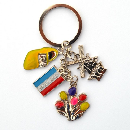 KEYCHAIN CHARMS WINDMILL CLOG TULIPS FLAG