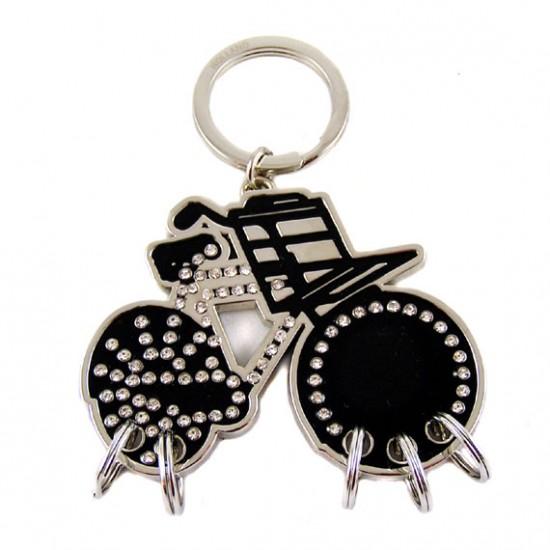 Key chain bike black with rhine stones 5.5 x 7 cm