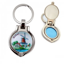 KEYCHAIN PHOTO FRAME WINDMILL COLOR COPPERPLATE 4 CM