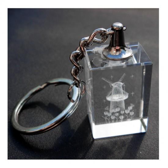 KEYCHAIN GLASS WINDMILL TULIPS LASER