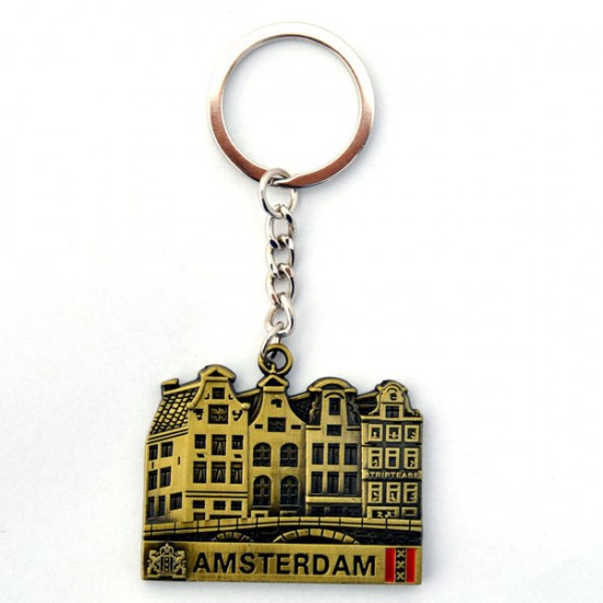 Key ring amsterdam canal houses bronze