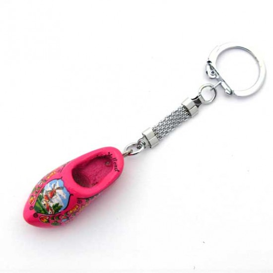 Keyring wooden cloggie cyclaam 4 cm