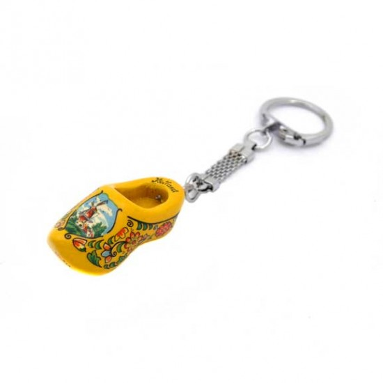 KEYRING WOODEN CLOGGIE YELLOW 4 CM