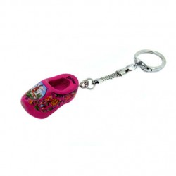 KEYRING WOODEN CLOGGIE PURPLE 4 CM
